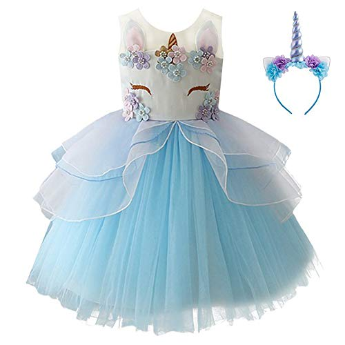 (Kids Girls Flower Tulle Birthday Unicorn Mythical Costume Cosplay Pageant Tutu Princess Dress up Teen Cute Unicorn Headband Halloween Party Gown Outfits 9-10 Years (Blue,)