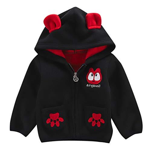 Little Kids Autumn Thin Coat,Jchen(TM) Fashion Toddler Baby Little Boy Girl Cartoon Long Sleeve Hoodie Fleece Winter Warm Outwear Coat Jacket for 0-3 Y (Age: 12-18 Months, Black) by Jchen Baby Coat