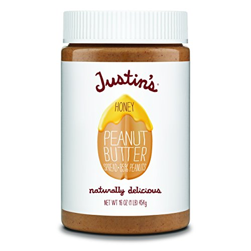 Honey Peanut Butter by Justins, No Stir, Gluten-free, Non-GMO, Responsibly Sourced, 16oz Jar