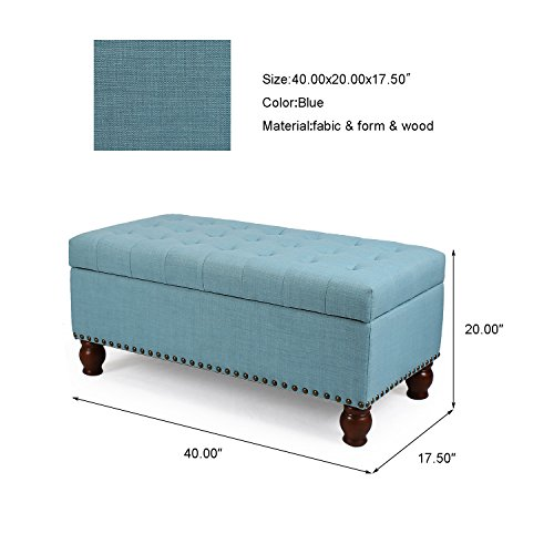 Asense Fabric Rectangle Tufted Lift Top Storage Ottoman Bench, Footstool with Solid Wood Legs, Nailhead Trim (Princess Blue)