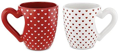 KOVOT Heart Mug Set - Includes (2) Heart Shaped Handle 24 oz Mugs