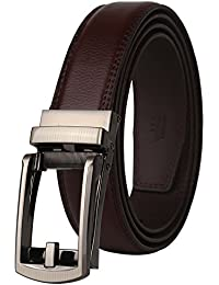 "Ratchet Click Genuine Leather Dress Belt for men with Linxx Buckle 1 1/8"" Width"