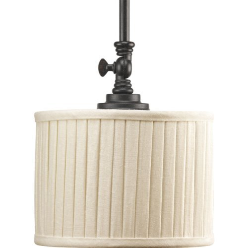 (Progress Lighting P5256-84 1-Light Mini-Pendant with Drum Shades In Cream Linen Fabric and Soft Side Pleats, Espresso by Progress Lighting)
