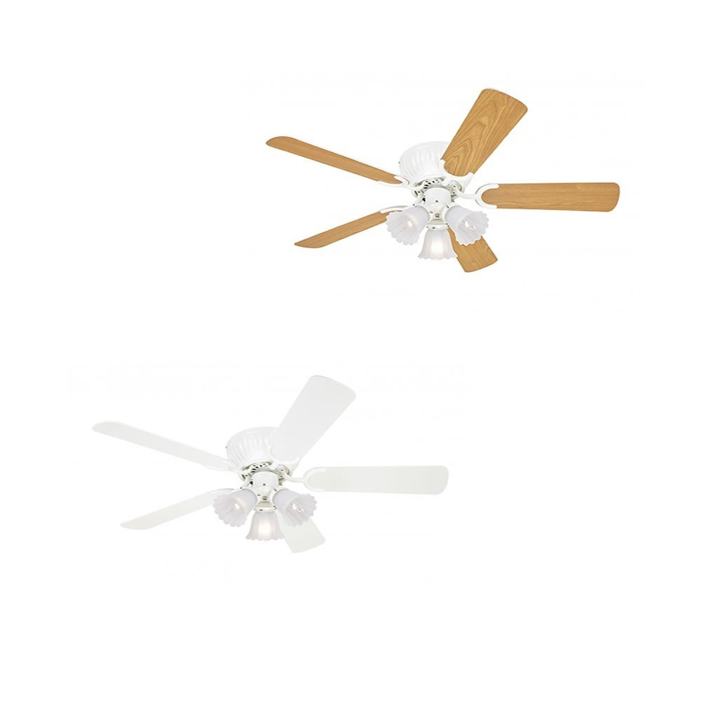 Low Profile Ceiling Fan Kisa White 105 cm / 41 inch with 3 Lights, Pull Chains and Reversible Blades in White & Maple [Energy Class A] Pepeo 10512015