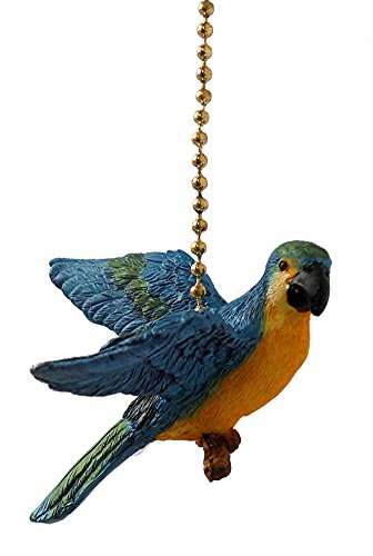 Blue Parrot Macaw bird Resin Ceiling Fan Pull chain extender by Clementine Designs