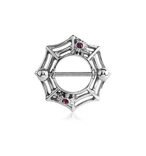 - Adatto Nipple Piercing Jewelry Surgical Steel Jeweled Nipple Shield - Spider Web 14g