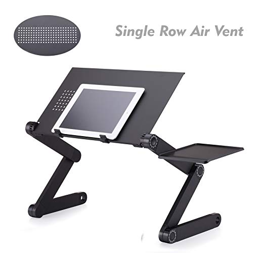(Haige Pet Your Pet Nanny Laptop Stand Desk Table, Adjustable Ergonomic Aluminum TV Bed Lap Tray Notebook Tablet Holder with Vented CPU Fans and Enlarged Mouse Pad)