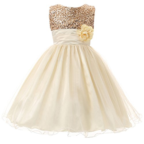 - Csbks Little Girl Flower Sequin Princess Tulle Party Dress Birthday Ball Gowns 8 Beige