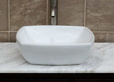 Faucet Bathroom Square Ceramic Vessel Sink Basin & Brushed Nickel Pop-up Drain cheap