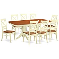East West Furniture NAQU9-WHI-W 9 Piece Dinette Table and 8 Dining Room Chairs