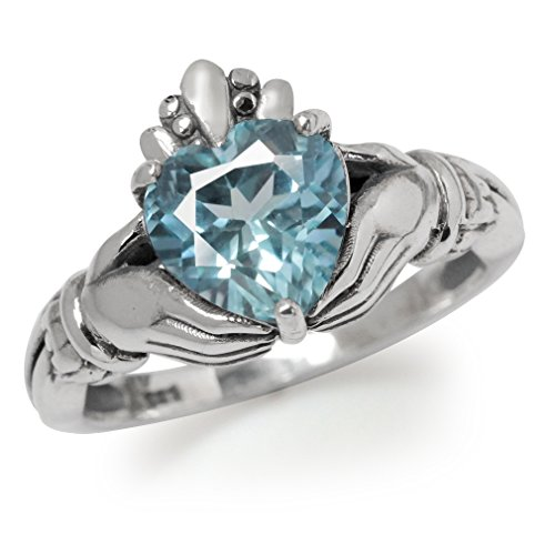 Blue Topaz Claddagh Ring (2.28ct. Genuine Blue Topaz 925 Sterling Silver Claddagh Ring Size 7)