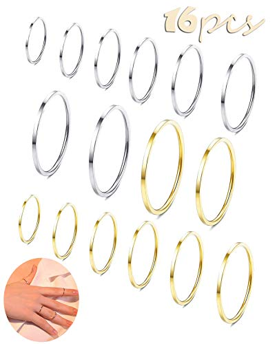 Shinity 16pcs Stainless Steel Rings Statement Knuckle Midi Stackable Thin Band for Women Girl 1MM (16pcs Flat Style)