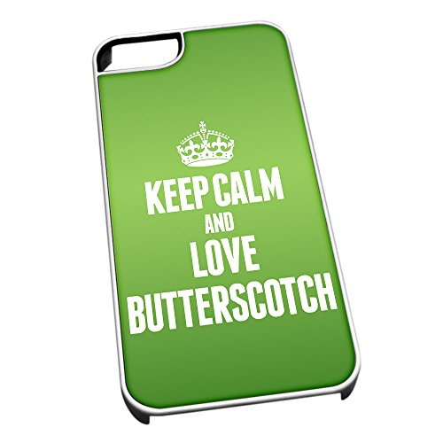 Bianco cover per iPhone 5/5S 0884verde Keep Calm and Love Butterscotch