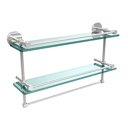 Allied Brass P1000-2TB/22-GAL-PC 22 Inch Gallery Double Glass Shelf with Towel Bar Polished Chrome (Renewed)