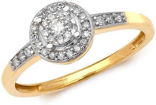Juego de anillos de diamantes alrededor de los hombros de oro amarillo de 9 quilates, tamaños de 0,20 quilates, Contáctenos antes de realizar el pedido en relación con la disponibilidad de tamaño