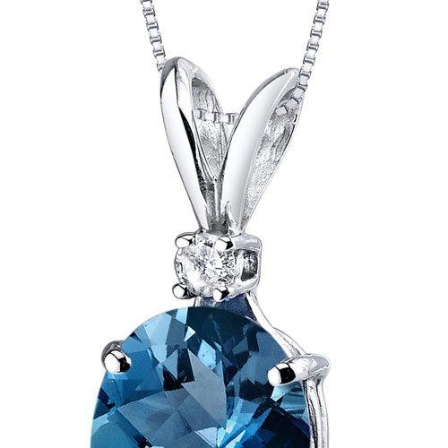 14 Karat White Gold Oval Shape 3.00 Carats London Blue Topaz Diamond Pendant by Peora (Image #2)