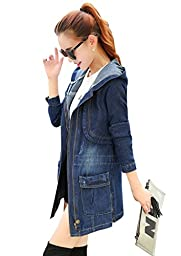 Wincolor Women\'s Winter Loose Fit Zip Up Hooded Denim Jean Trench Jacket Long Coat