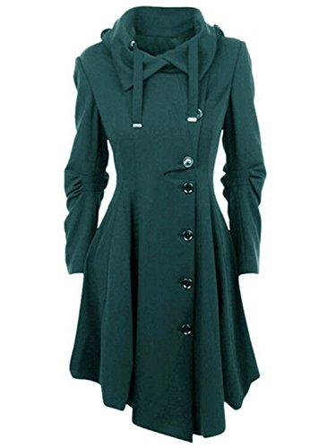 (AUSZOSLT Womens Hooded Button Closure Asymmetrical Winter Long Trench Jackets Coat Green XL)