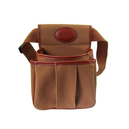 Tourbon Hunting Trap Shooting Pouches Shotgun Shell Holder Double Ammo Cartridge Bag - Canvas and Leather