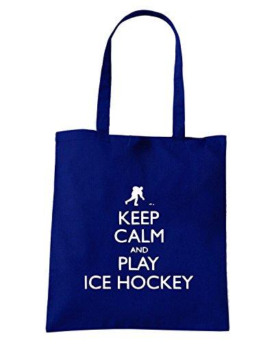 T-Shirtshock - Bolsa para la compra SP0098 Keep Calm and Play Ice Hockey Maglietta Azul Marino