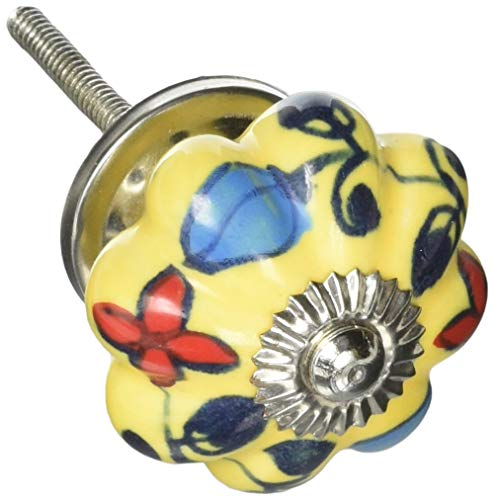 Brad Flower Bloom - Darice Decorative Solid Yellow Bright Blooms Fancy Ceramic Knob
