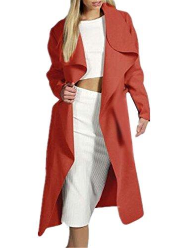 para lana Color Sencillos Coat SÓLido Outwear Red Acogedor de Hipster Bonitas Abrigo Mujer Largo Larga Cardigan Mujer Manga AILIENT 8EwFPnxq4