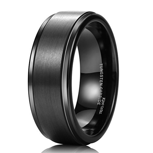 King Will BASIC 8mm Black High Polish Matte Finish Tungsten Men's Wedding Ring Comfort Fit 9 by King Will