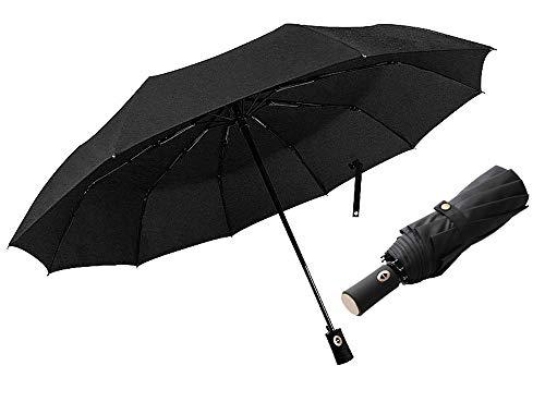 (Black Windproof Travel Umbrella, Compact Automatic Open Close Small Folding Canopy Umbrellas fit Golf Purse Umbrellas Backpack Wind Resistant for Men and Women Traveler (Black))