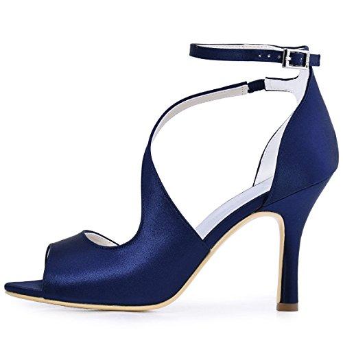 ElegantPark HP1505 Zapatos de tacón Punta abierta Rhinestones raso fiesta zapatos de novia Mujer Satin Azul marino