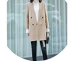 Minimalism Winter 100 Wool Coat Women Causal Solid Turn Down Collar Woolen Coat Khaki Wool Coat M
