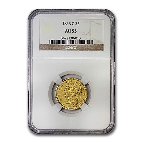 1853 C $5 Liberty Gold Half Eagle AU-53 NGC G$5 AU-53 NGC