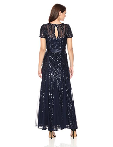 navy amp;M Sequins Women's Sleeve Short Richards One R Piece Embelished Gown vO7qp