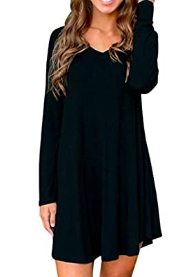 Face N Face Women's Cotton Knitted V Neck Long Sleeve Short Tunic Dress