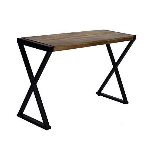 The Urban Port Wooden Console Table With X Base On Sides, Walnut Brown ()