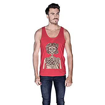 Creo Miss Coco Skull Tank Top For Men - M, Pink
