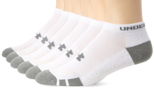 Ankle Length Athletic Socks (Men's Under Armour Resistor No-Show Socks 6-Pack, White, Large)