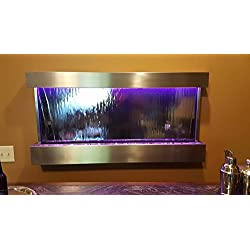 "Jersey Home Decor Wall WaterFall XL 47""x24"" Stainless Steel wall fountain,Mirror Glass, Color Lights Remote Ctrl Sale"