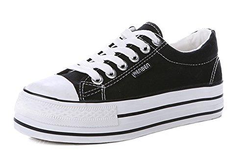 Aisun Donna Trendy Sneakers In Canvas Con Plateau Nero