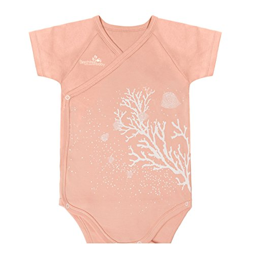 Modal Short Sleeved Red Coral Baby Bodysuit,Beechtree Baby Unisex Baby Boys Girls Original Baby Kimono for Newborn Infant Toddler (3~6 months)