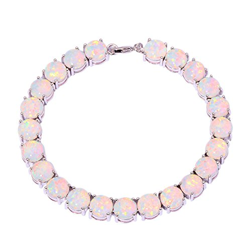 CiNily Rhodium Plated Created White Fire Opal Women Jewelry Gemstone Round Bracelet 8''
