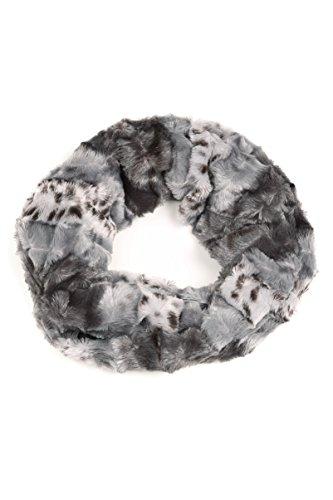 Sakkas CXGJ1529 - Abhy Soft Fall Winter Furry Infinity Wrap Scarf - 3-Grey - OS (Rib Pattern Scarf)