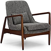 Wholesale Interiors Baxton Studio Carter Mid-Century Modern Retro Fabric Upholstered Leisure Accent Chair in Walnut Wood Frame, Large, Grey