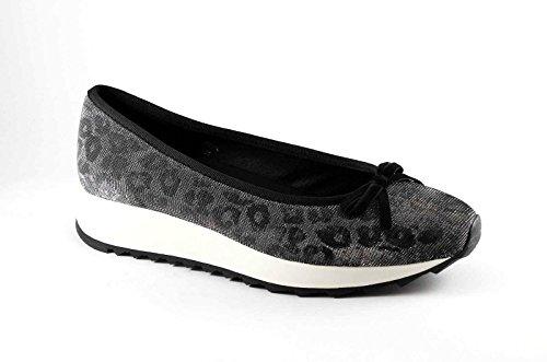 CAF NOIR EM914 zapatos de plata las mujeres bajas zapatillas de deporte del arco de cuña bailarina Argento