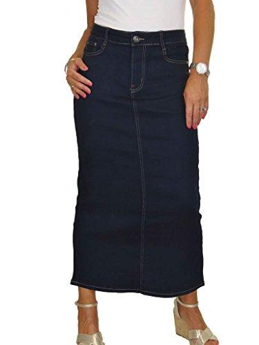 Ice Maxi Longue Jupe Stretch Jeans, Lavage en Douceur 40-50 Indigo Bleu