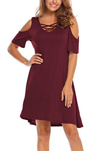 (BLUETIME Women Summer Cross Neck Simple Style T-Shirt Dress Cold Shoulder Sexy (XL, Wine Red))
