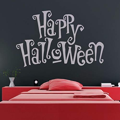 xbwy Happy Halloween Spooky Writing Vinyl Waterproof Wall Stickers for Bedroom Holiday Art Quotes Wall Decals Living Room -