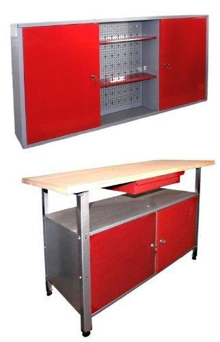 Kreher Werkstatt-Einrichtung 2tlg: Werkbank 120x60x85 cm, 2 Türen ...