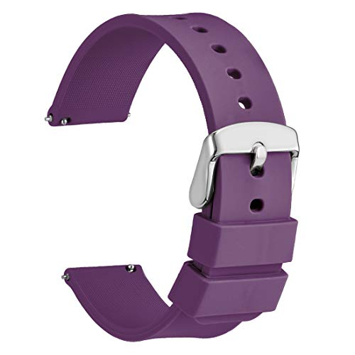 WOCCI Silicone Watch Band 18mm,Soft Rubber Replacement Straps with Quick Release (Purple) ()