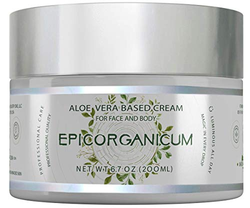 Organic Aloe Vera Moisturizing Cream Body and Face Moisturizer For Acne, Psoriasis, Rosacea, Eczema, Aging, Itchy Dry or Sensitive Skin Care Cream, Skin Care Face Natural Cream (6.7 oz)
