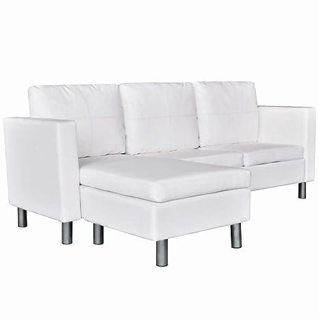 Amazon.com: BLUECC - Sofá de 3 plazas de piel sintética ...